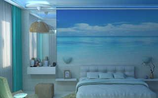 Голубой потолок в интерьере: какие стены сделать, какие обои подойдут к голубому натяжному потолку, как сочетаются, дизайн комнаты