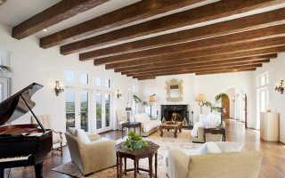 Балки на потолке: фальшбалки на потолок, потолочные балки из гипсокартона, из дерева, натяжной потолок с декоративными балками, с имитацией балок