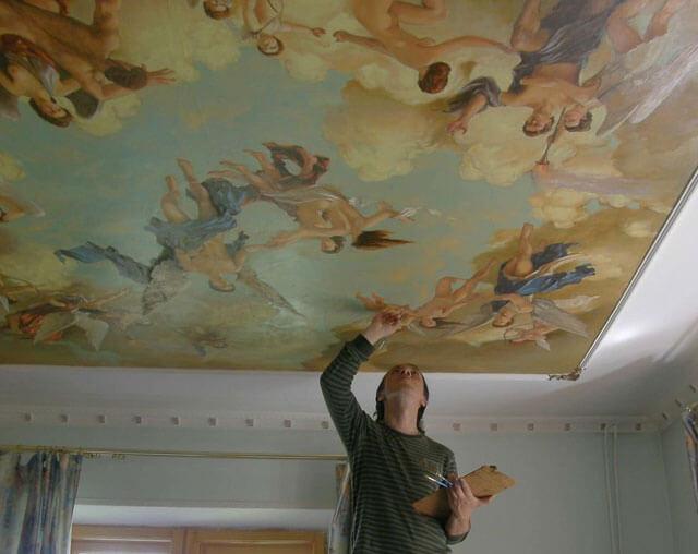 нарисовать небо на потолке