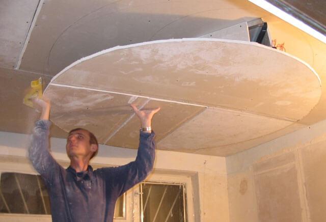 работа с гипсокартоном своими руками потолок