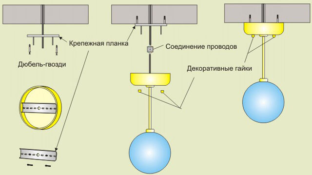 как закрепить люстру на потолке