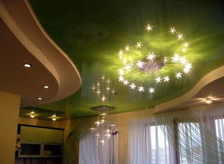 Глянцевый зеленый потолок