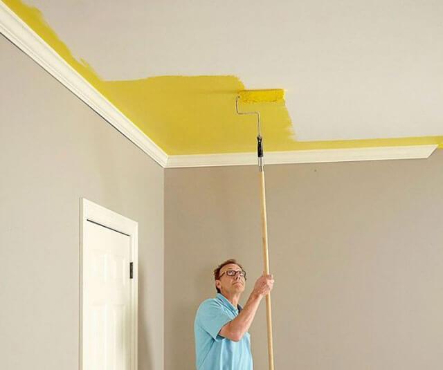 как правильно побелить потолок водоэмульсионной краской