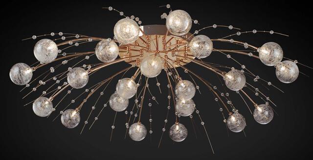 натяжные потолки с лампочками и люстрой