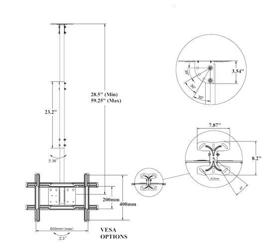 Схема кронштейна со штангой