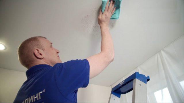 Мытье матового натяжного потолка