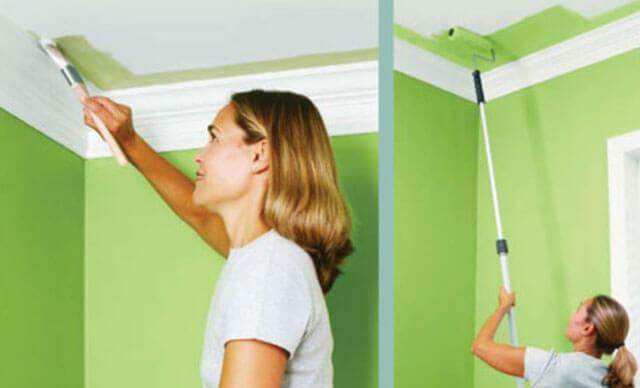 как покрасить потолок акриловой краской без разводов
