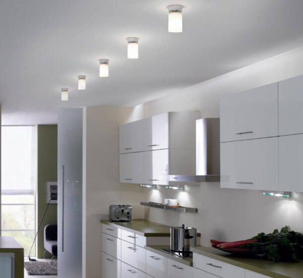 как расположить потолочные светильники на кухне