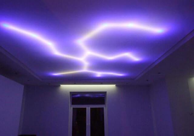 натяжные потолки варианты освещения