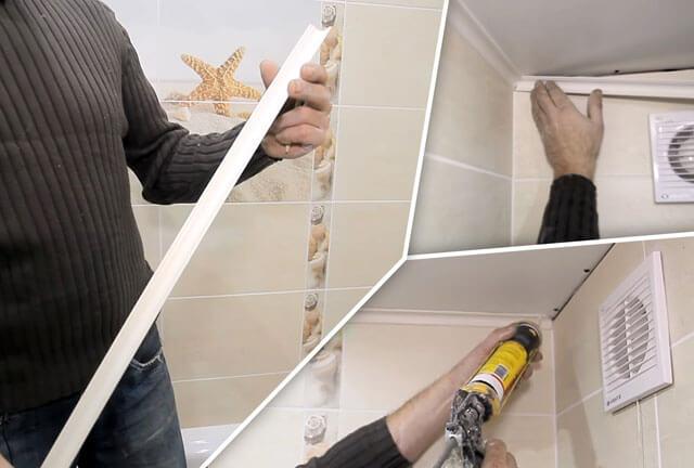 как прикрепить потолочный плинтус к потолку