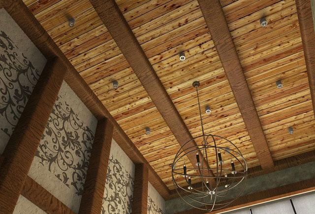 отделка потолка имитацией бруса