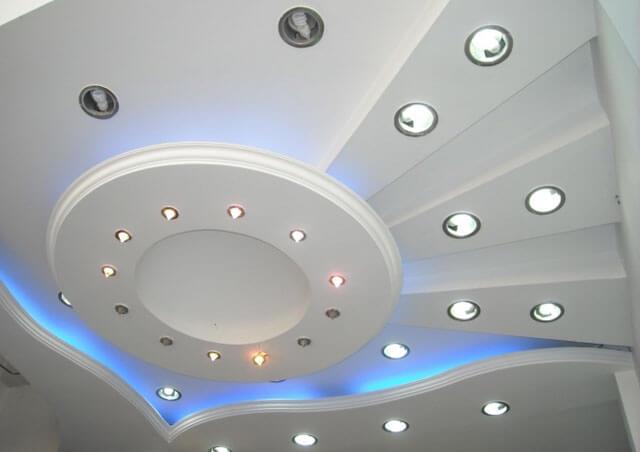 форма потолка из гипсокартона с кругом