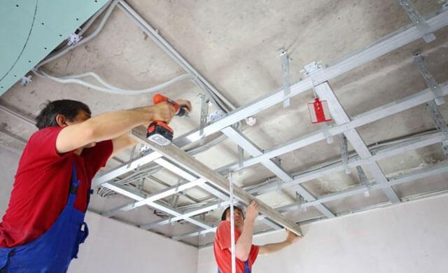 конструкция подвесного потолка из гипсокартона схема