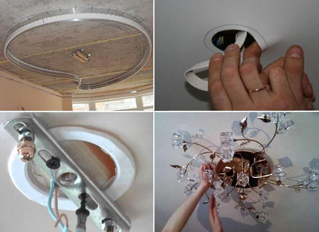 как повесить люстру к натяжному потолку