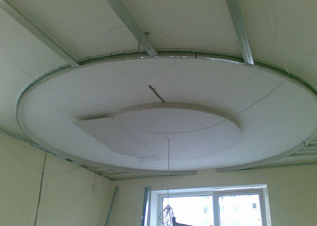 монтаж парящего потолка из гипсокартона
