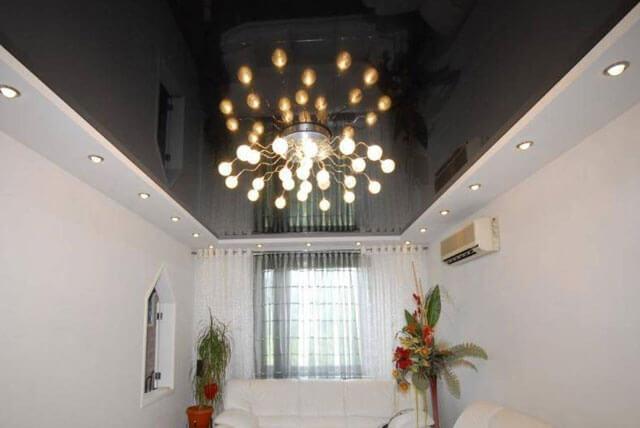 потолок из гипсокартона и натяжной