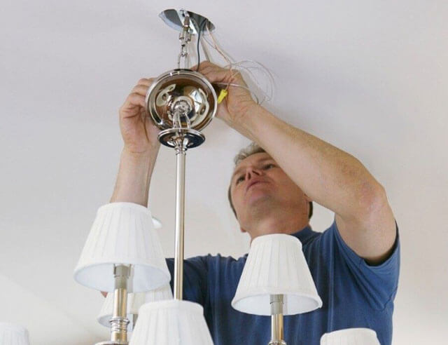 монтаж люстры на гипсокартонный потолок