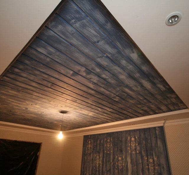 как крепить ламинат на потолок