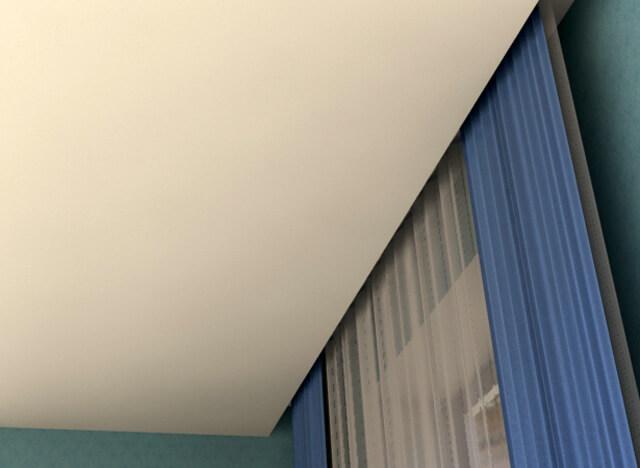как на натяжной потолок прикрепить карниз