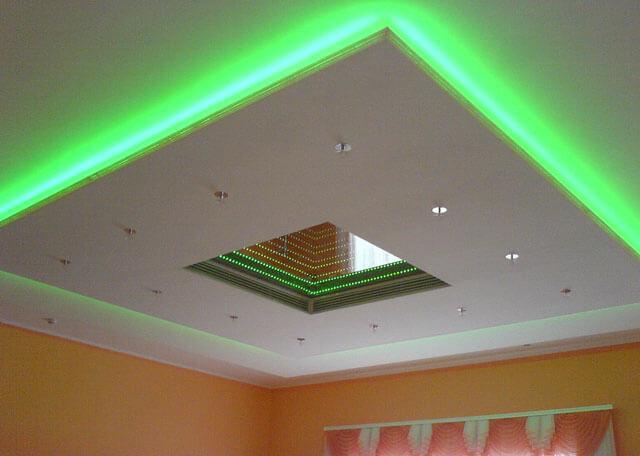 как делать натяжные потолки с подсветкой