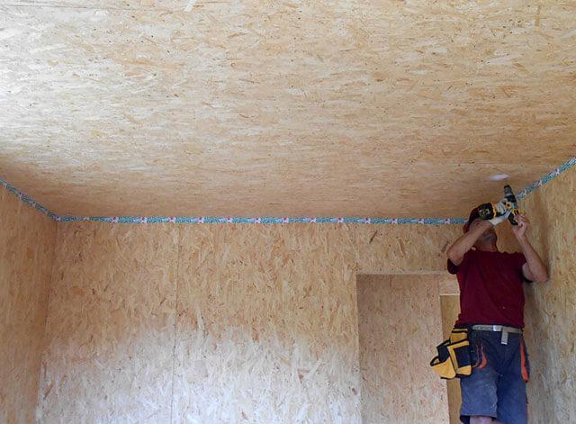 как обшить потолок ОСБ плитой