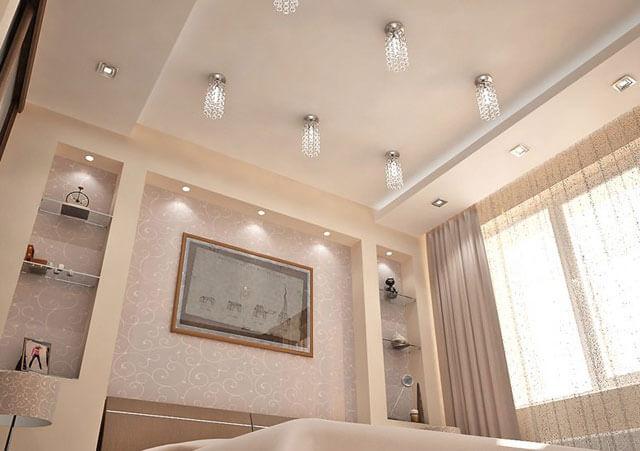 какие потолки можно сделать в спальне