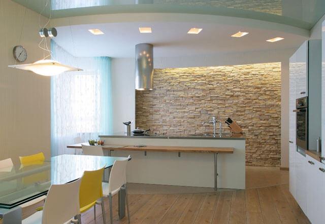 светодиодная подсветка потолка на кухне