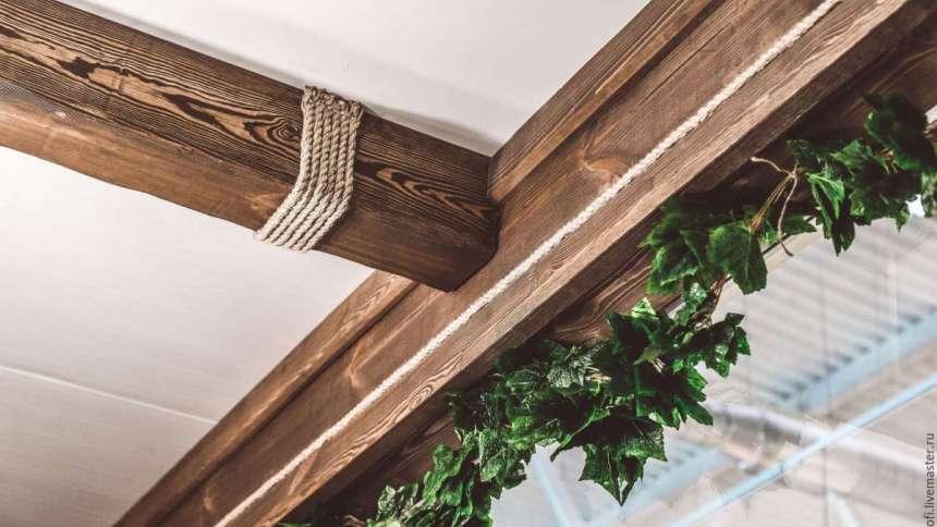 Обмотка канатами под потолком