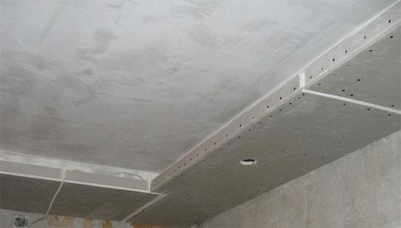 как крепить гипрок к потолку