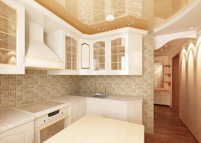 точечное освещение потолков на кухне