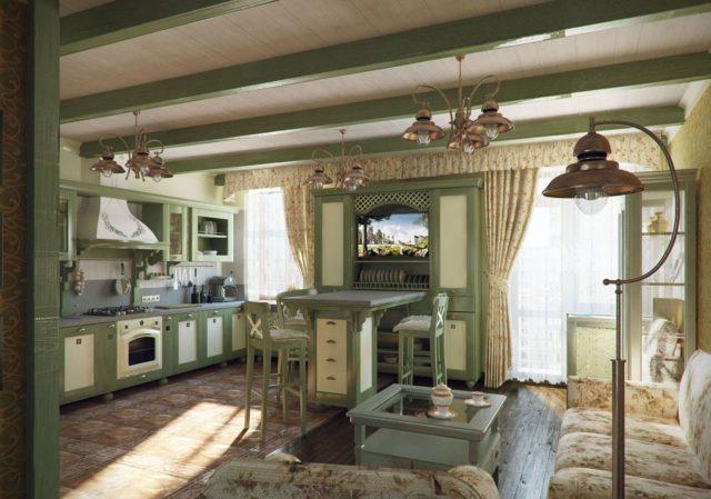 Кухня в интерьере прованс с балками