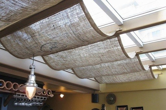 Джутовая ткань на потолке