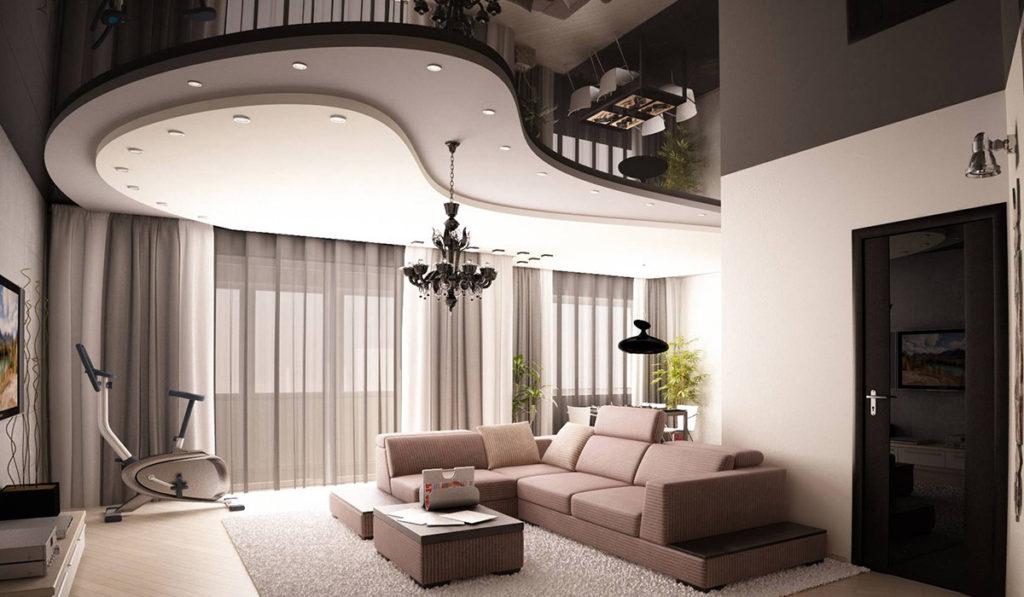 Многоуровневое полотно в гостиной