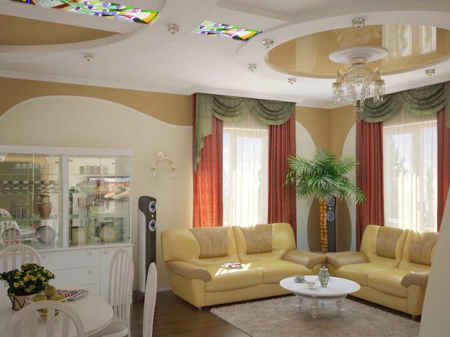 Потолок разделяющий комнату на зоны