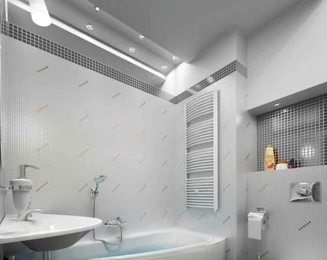 Натяжное полотно в ванной