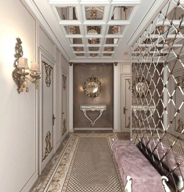Зеркальный потолок с балками