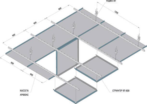 подвесные потолки кассетные алюминиевые