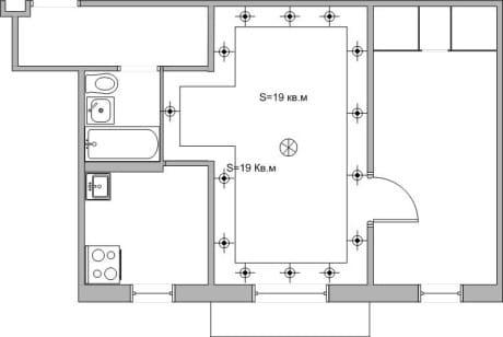 план освещения комнаты