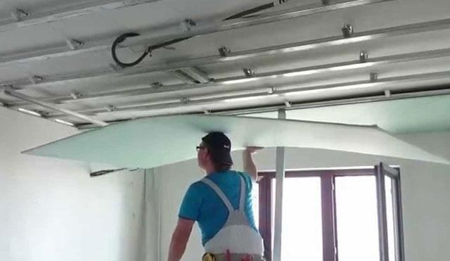 потолок из гипсокартона прямой