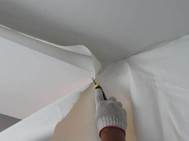 тканевый натяжной потолок монтаж
