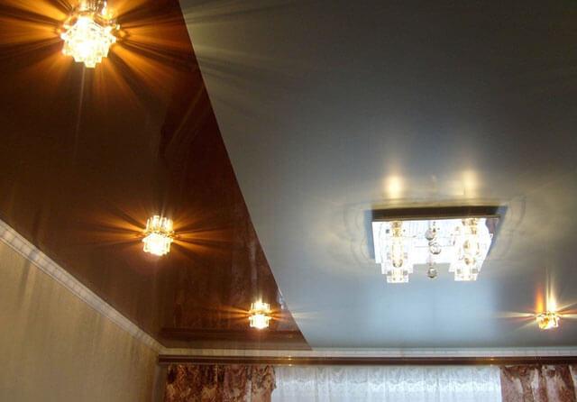 двухцветный потолок натяжной в одном уровне