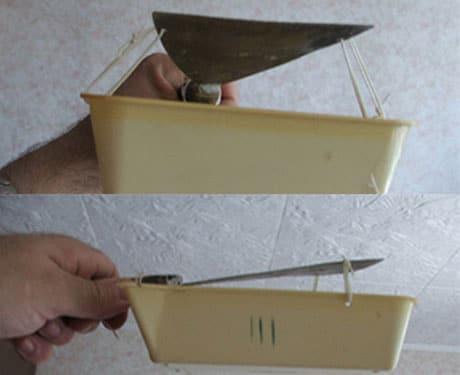 Шпатель и контейнер для очистки побелки