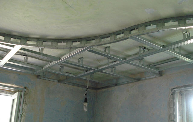 монтаж фигурного потолка из гипсокартона