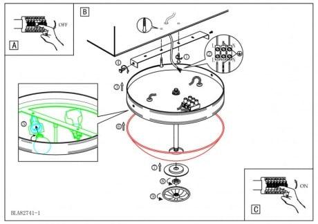 схема монтажа накладного потолочного светильника