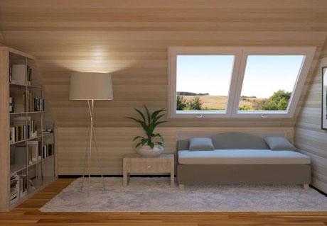 Жилая комната на мансардном этаже