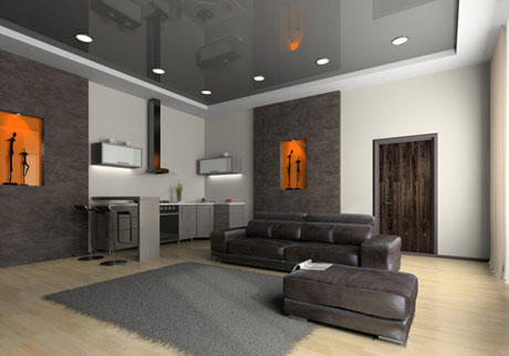 Серый потолок в интерьере