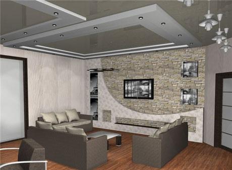 Серый потолок с подсветкой