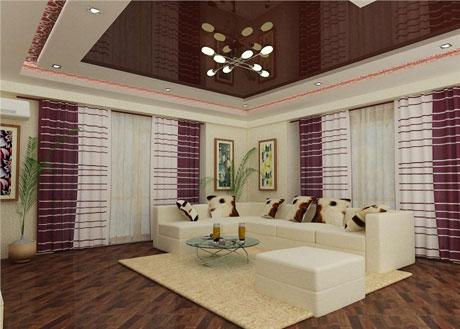 Коричневый потолок в тон мебели