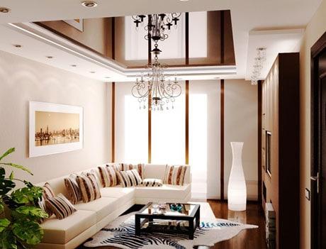 Светло-шоколадный натяжной потолок