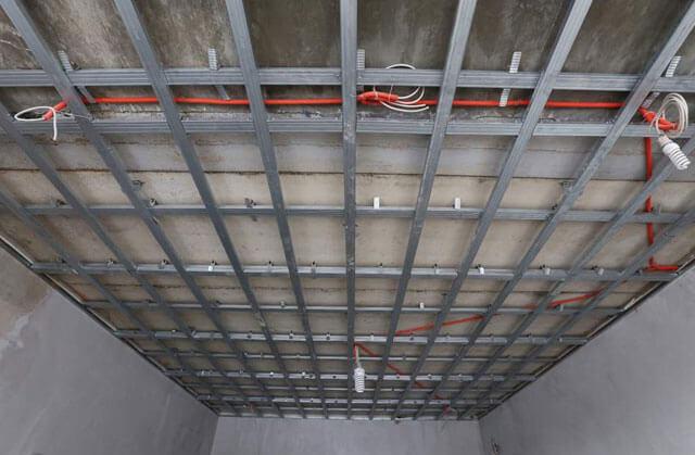 каркас для потолка из гипсокартона схема
